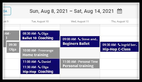 dance studio online scheduler